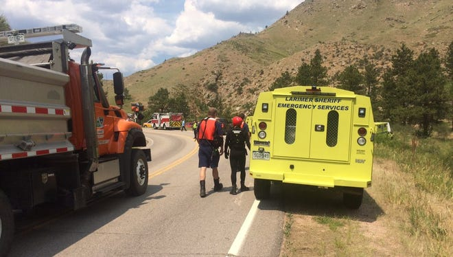 Emergency responders at the Poudre River near Ouzel picnic area after there were reporters of a man not breathing.