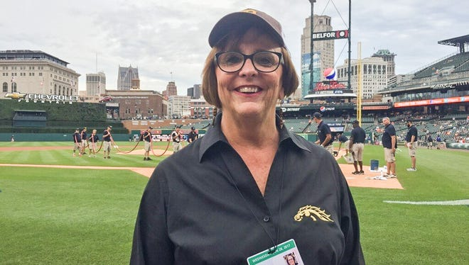 Western Michigan athletic director Kathy Beauregard participated in WMU Night before the Tigers-Royals game Wednesday night at Comerica Park.