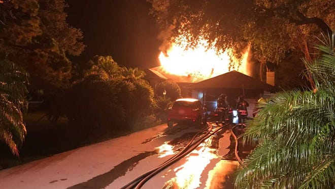 Firefighters are at a house in the 5600 block of Loblolly Place in Grant/Valkaria July 3, 2017.