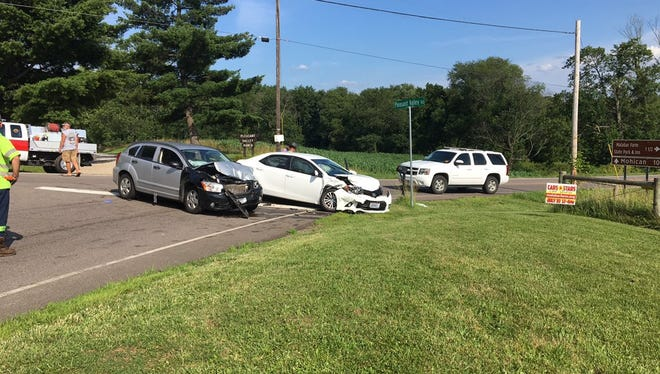 Several people were transported to the hospital after a crash at Ohio 603 and Pleasant Valley Road on Monday, July 3, 2017. A white Toyota Corolla failed to yield to a gray Dodge Caliber when it tried to turn onto Pleasant Valley Road from Ohio 603, the Ohio Highway Patrol reported.
