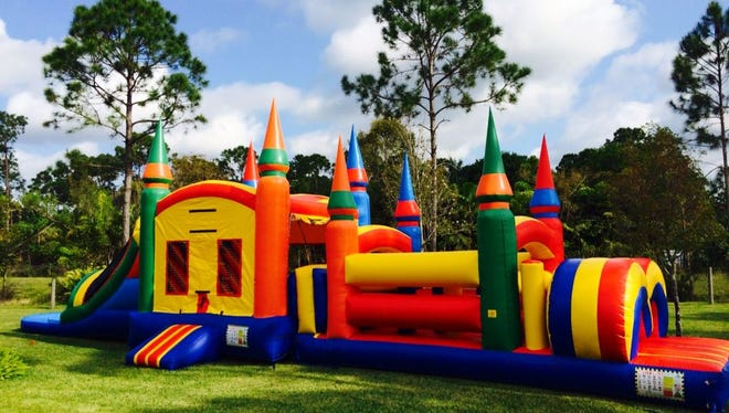 A bouncy house sits ready for use for children. The 49th Wing Safety office recommends following all bouncy house safety procedures when using a bouncy house.