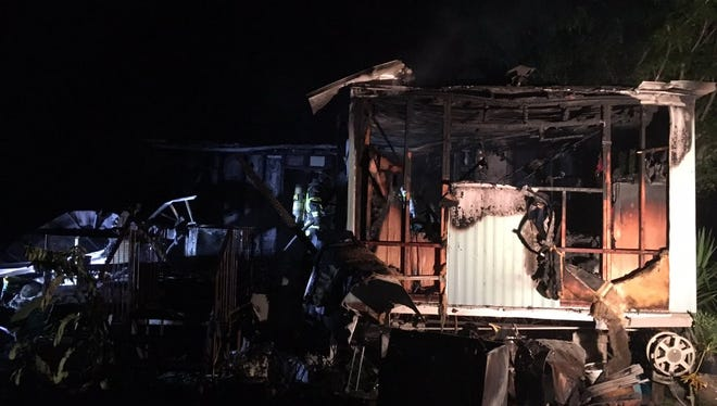 A manufactured home caught fire Aug. 3, 2017, in Scottsmoor.