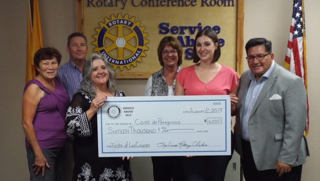 Pictured at the check presentation, from left: Lya Jordan, Las Cruces Rotary president; Richard Haas, Las Cruces Rio Grande Rotary president; Richelle Ponder, event chair; Patty Groth, Las Cruces Rotary; Sara Armijo, Casa de Peregrinos; and Lorenzo Alba, Las Cruces Mesilla Valley Rotary past president and Casa de Peregrinos executive director.
