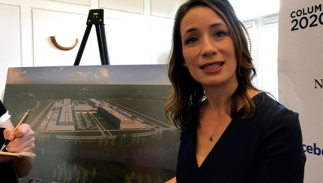 Rachel Peterson, director of data center strategy and development for Facebook, discusses the social media giant's decision to build a $750 million data center in New Albany, Ohio, Tuesday, Aug. 15, 2017.