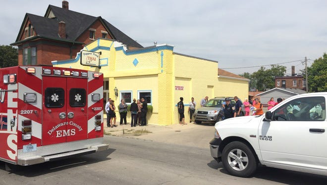 A woman was reportedly shot and seriously wounded outside Tuppee Tong Thai restaurant on West Main Street just after noon on Thursday.