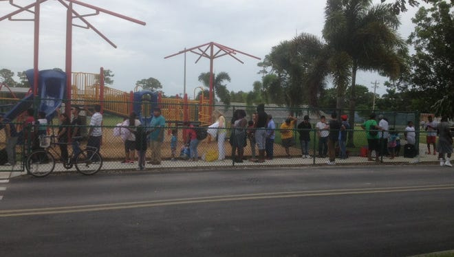 The line at Pinecrest Elementary School shelter in Immokalee, Florida, on Saturday, Sept. 9, 2017.