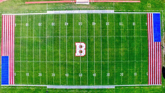 Boone High School painted American flags in each end zone as part of Friday's Military Night.