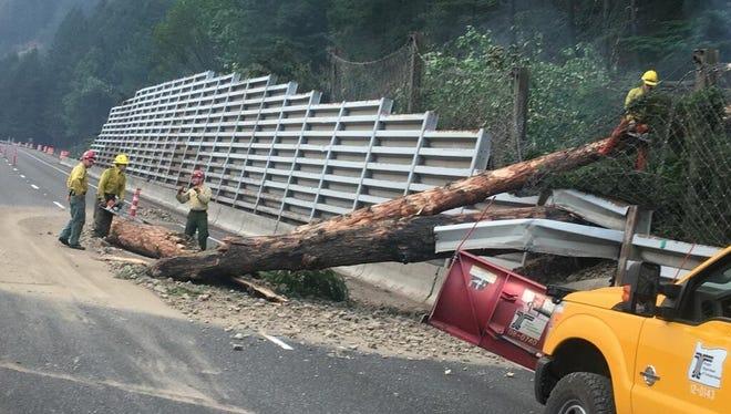 A landslide and tree on I-84 on Thursday.