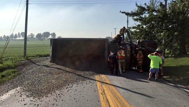 Susquehanna Trail, north of Lightner Road, had been closed following a dump truck roll-over, spilling stones on the road.