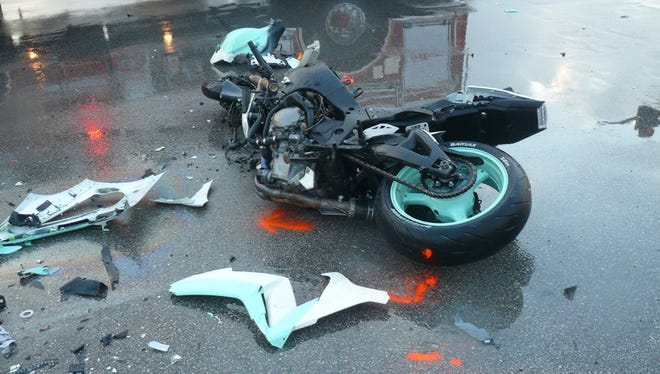 A motorcycle rider died Tuesday, Oct. 3, 2017 after a crash with an SUV in St. Lucie West.