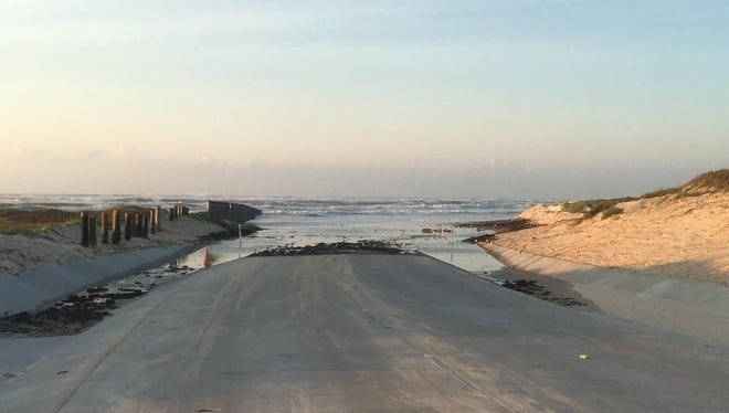 Coastal flooding, like that seen in this June 2017 photo, is likely at Padre Island National Seashore late Sunday, Oct. 8, 2017. Long period swells from Hurricane Nate are hitting the area, causing the possibility of flooding along the coast in Nueces and Kleberg counties.