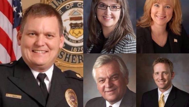 Clockwise from left: Sheriff Justin Smith, Clerk and Recorder Angela Myers, Treasurer Irene Josey, Surveyor Chad Washburn and Assessor Steve Miller. Voters will decide in the November election if those positions should keep term limits or not.