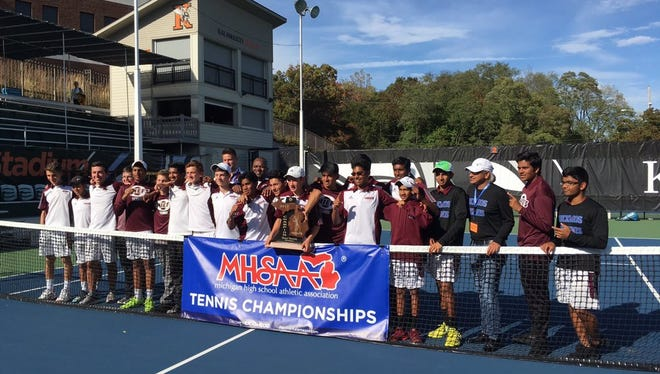 The Okemos tennis team captured the Division 2 state championship in 2017 at Kalamazoo College.
