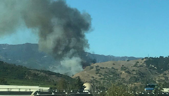 Firefighters responded to a fast-moving brush fire along the hills north of Ventura on Tuesday afternoon.