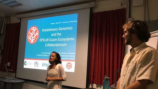 University of Guam Marine Laboratory faculty Sarah Lemer, left, and David Combosch present at the University of Hong Kong's Swire Institute of Marine Science.