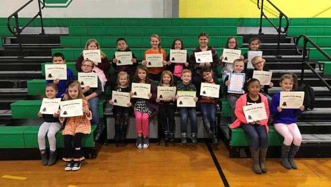 Cairo Elementary's October leaders of the month are, front row from left: Anna Shappell, Clara Hewgley, Gracie Gaston and Kyndal Mills. 2nd row: Brandon Lott, Jonathon Wallace, Amelia Andrus, Gigi Nash, Lilly Crowley, Westin Mills, Addilyn McGuire, Jax Matthews and Jayman Mintz. Back row: Annabel Brown, Angel Mikan, Elizabeth Williams, Savannah Schroeder, Kaylee Smith, Allyson Denton and Hayley Jo Hovey. Not Pictured:  Elisabeth Carter