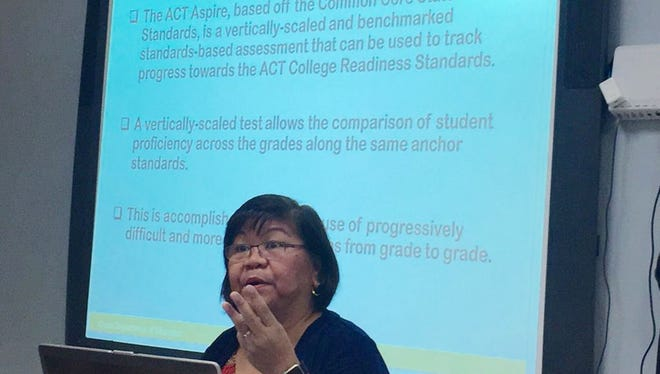 Zenaida Natividad of Guam Department of Education discusses the latest public school students' academic assessment results Thursday, Nov. 30, 2017.
