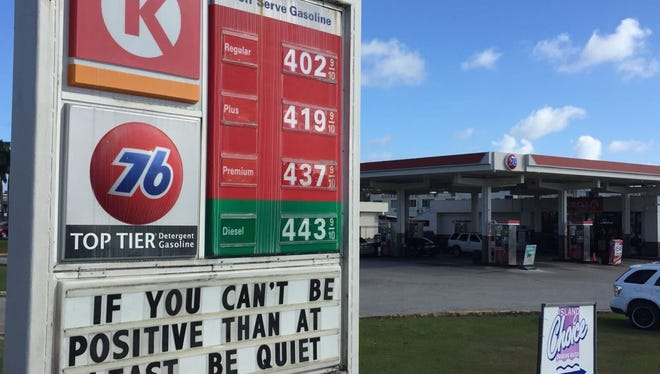 Price board at the Dededo 76 gas station Monday afternoon reflected a rise to above $4 for regular unleaded.