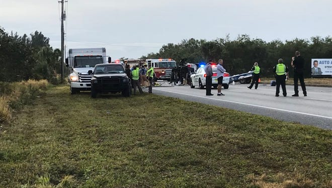 The crash in the northbound lanes of U.S. 1 involved a vehicle rollover.