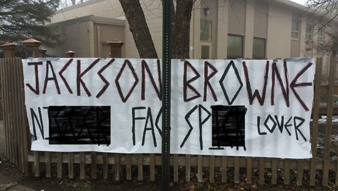 Banners put up outside the Unitarian Universalist Chruch, 333 Meridian St. in West Lafayette, targeted the church the morning after it hosted the Resistance Fair, a rally meant to oppose President Donald Trump.
