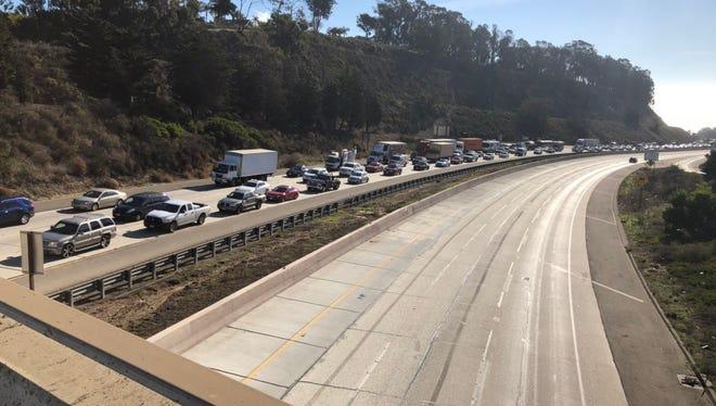 Traffic on Highway 101 toward Santa Barbara backs up Thursday morning