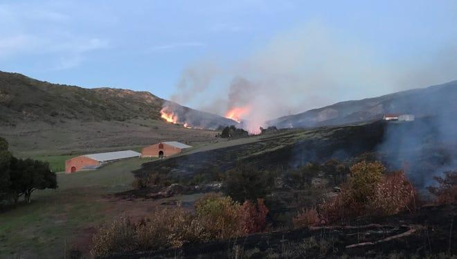 A 250-acre fire was burning on Santa Cruz Island Wednesday.