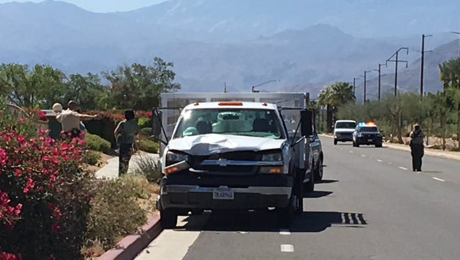 Sheriff's Department confirms a man was hit by vehicle and killed while riding bike on Bob Hope Drive just before 10:15 am.