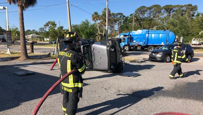 Titusville Fire Department responds to rollover crash.