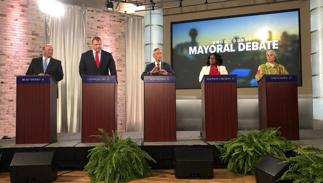 Candidates for Knox County mayor answered questions during the Knox County Mayoral Debate held at Jewelry Television Thursday, April 5, 2018.
