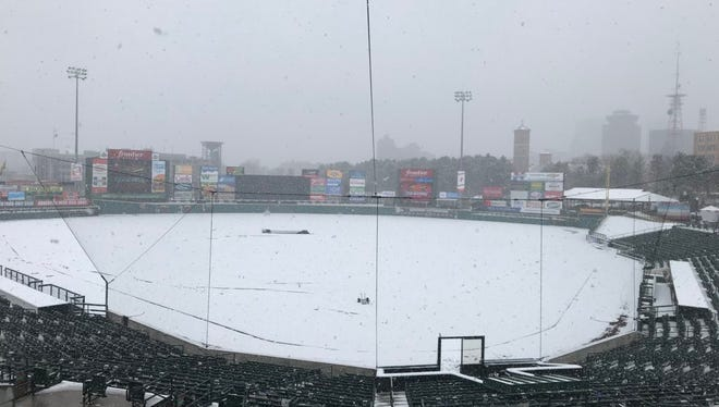 Snow covers Frontier Field on what was scheduled as Opening Day.