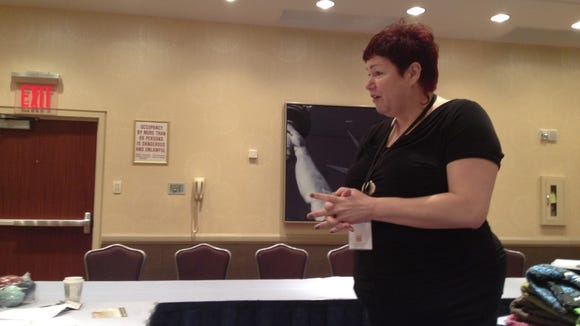 Here's Fiona Ellis teaching a class I took at Vogue Knitting Live in 2013.