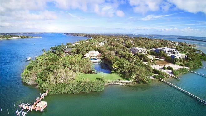 Aerial view of $4.5 Million estate on the southern tip of Sewall's Point.