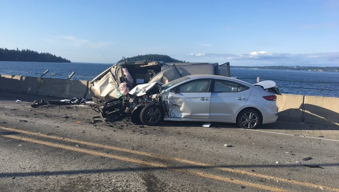 Six vehicles were involved in the crash on the Hood Canal Bridge that killed one person Thursday.