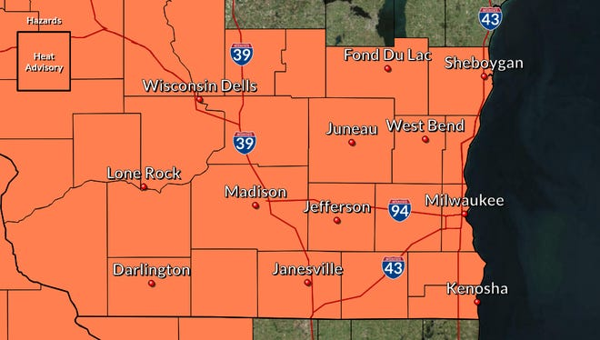 The southern half of Wisconsin is under a heat advisory for the weekend.