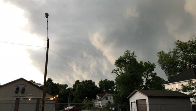 A storm rolls into Wausau on June 17, 2018.