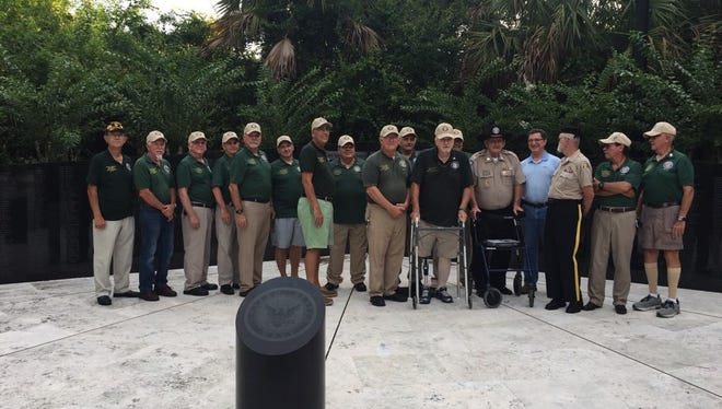Roy Brewer, retired Vietnam Veteran, founder of the original Chapter 566 and St. Lucie County Vietnam Wall committee, along with several committee members and Gold Star Parents, gathered this year at the memorial in tribute of Flag Day and to remember those who were lost.