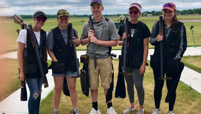The Ankeny Centennial trap shooting team took second place at the Iowa SCTP American Trap Championships held June 6-10 in Cedar Falls. From left: Erin Neppl, Raylee Bishop, Kael Richmond, Leah Hofstadter and Mallory Burdt.