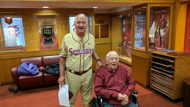 FSU coach Mike Martin with former Seminole coach Jack Stallings