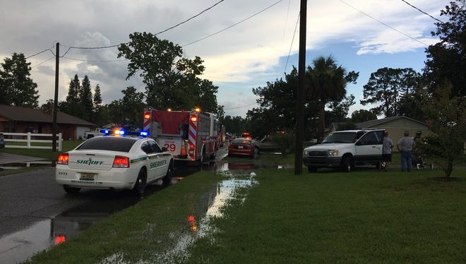 Brevard County fire crews responded to a home on Sunflower Drive in Port St. John that was struck by lightning Saturday.