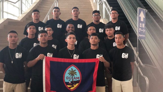 Guam's Senior Little League All-Stars, who will represent Guam at the Asia Pacific Regional Tournament in the Philippines, are shown at the Guam airport before departing for the tournament.