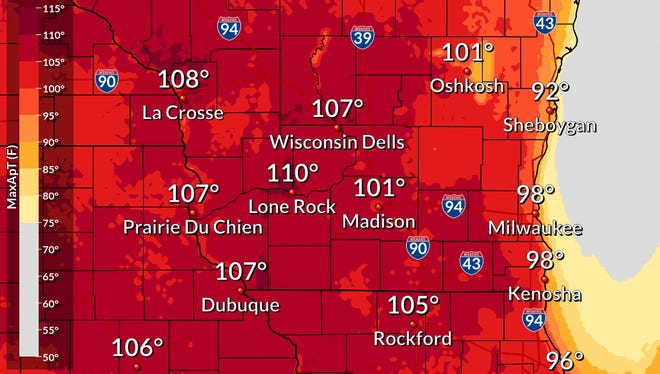 The heat index -- a measure of heat and humidity -- is forecast to soar above 100 degrees in parts of Wisconsin on Friday.