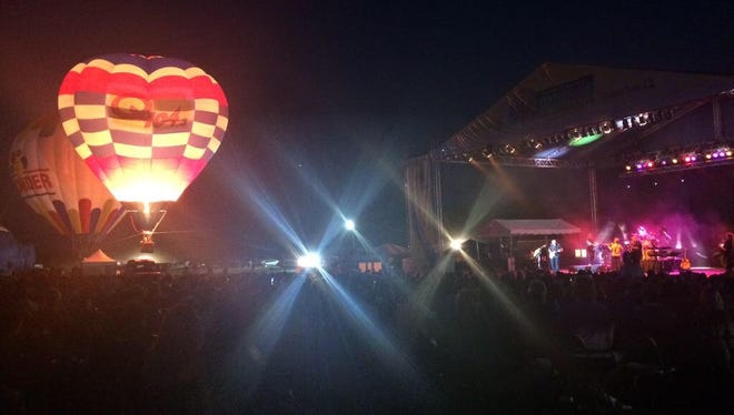 Balloon glow and concert stage