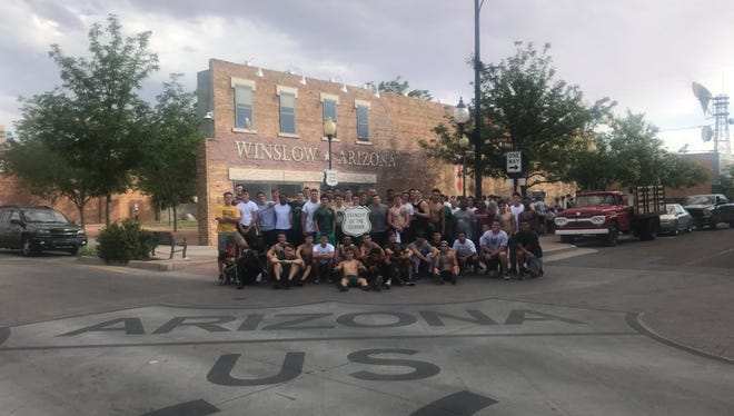 The Basha Bears football team poses for a photo in Winslow, Ariz., during its 2018 preseason training camp.