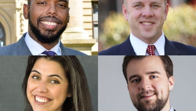 From clockwise, new board members Derrell Slaughter, D-Lansing, Mark Polsdorfer, D- Okemos, Chris Trubac, D- Holt and Emily Stivers, D- East Lansing, will serve two-year terms on the Ingham County Board of Commissioners, starting January 1, 2019.