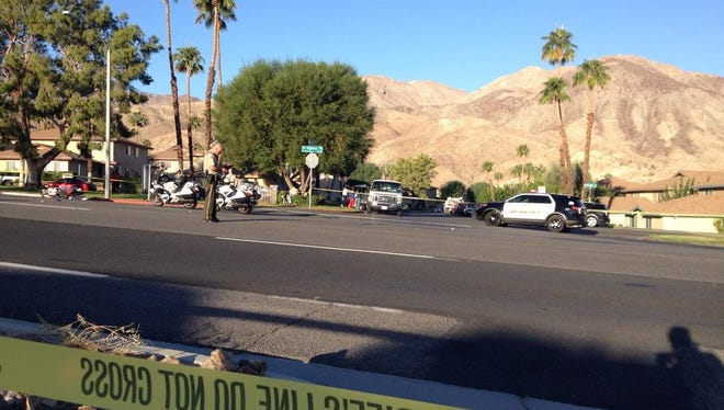 Police block off the scene of a fatal motorcycle accident on Highway 74 in Palm Desert on Friday, Oct. 24, 2014.