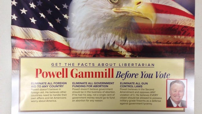 Democrats sent this mailer featuring Libertarian Powell Gammill in the 9th Congressional District.
