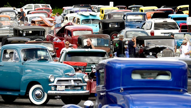 Street Rods arrive at the 41st Annual Street Rod Nationals East event registration at the Holiday Inn and Conference Center Thursday, June 5, 2014. BILL KALINA-bkalina@yorkdispatch.com