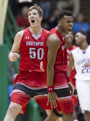 Southport junior Joey Brunk (50), left, is being pursued by Purdue, IU, Butler and a host of other Division I programs.