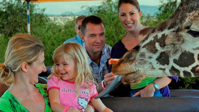 Families enjoy the African Bush Safari Tour at Out of Africa Wildlife Park.