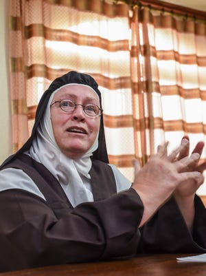 Mother Superior Dawn Marie speaks during a press conference at the Solitude of Carmel monastery in Tamuning on Tuesday, Nov. 15, 2016.